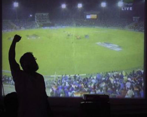 Watch Cricket on with Projector Setup on Rent at Home
