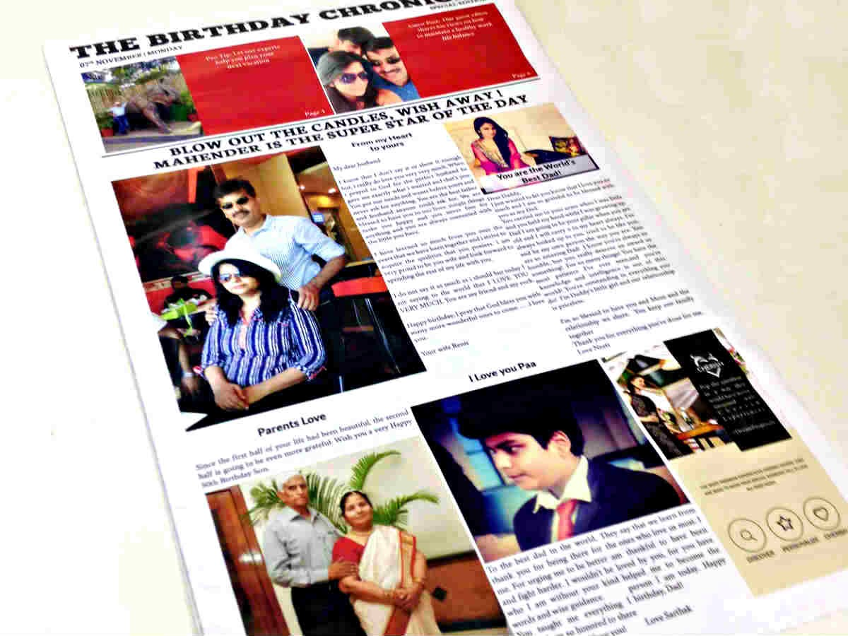 Surprise your close ones by bringing back the memories with CherishX's Personalised Newspaper Surprise.