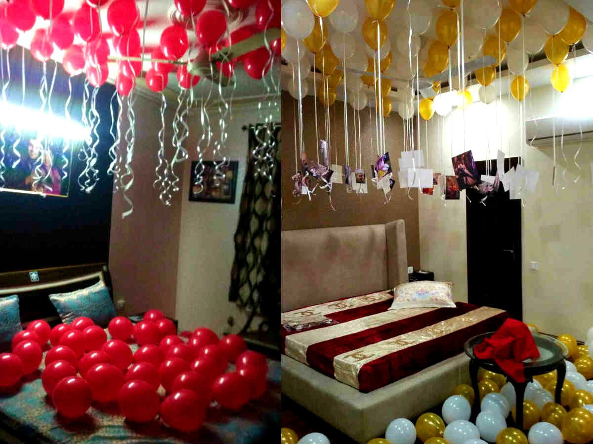 Balloon surprise decoration at home for anniversary for Anniversary decoration at home
