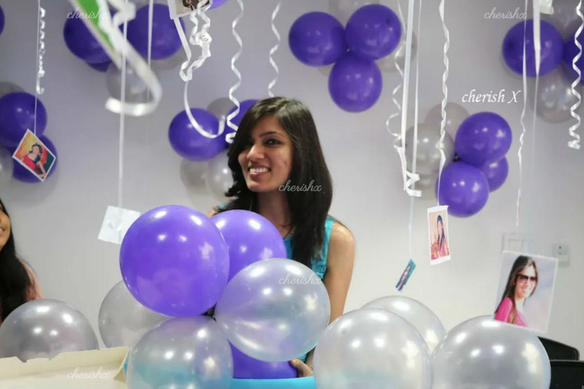 200 Balloon Decoration with ribbons and printed photos to celebrate wife's birthday