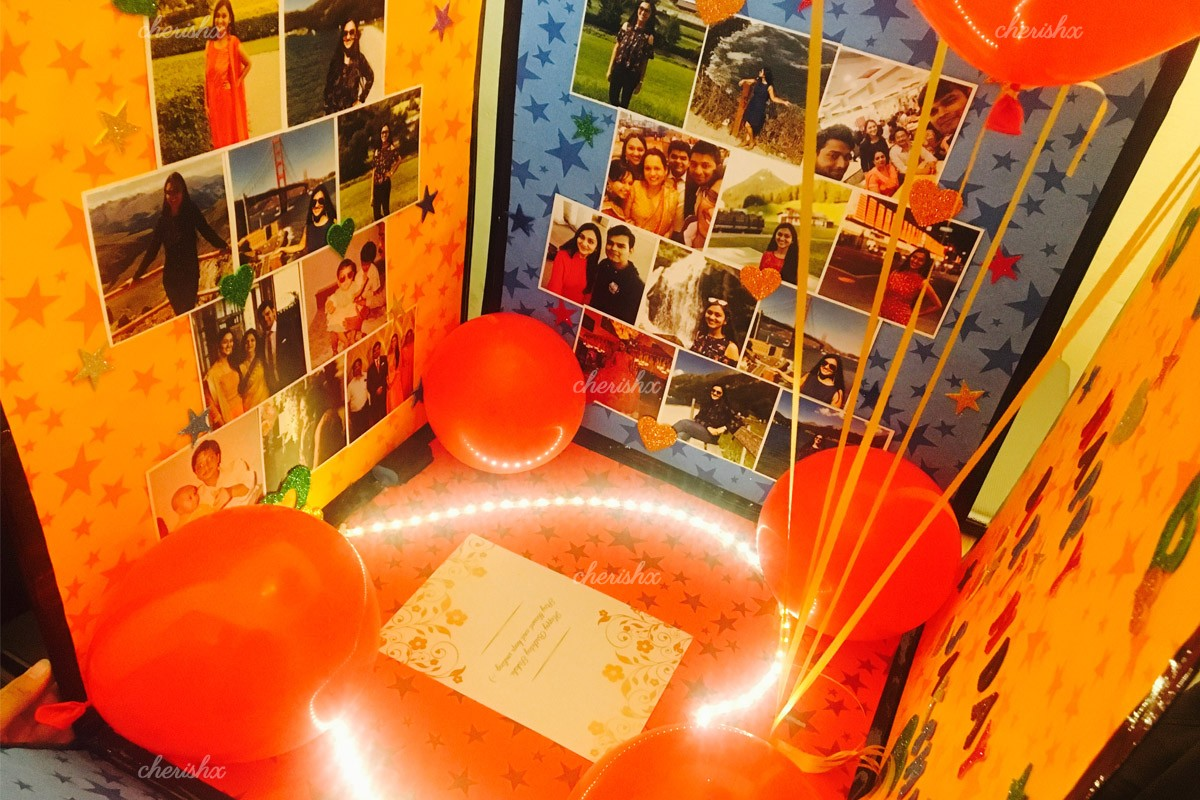 A box, full of your loving pictures and balloons for a perfect surprise.