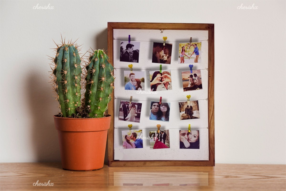 A personalised wooden strings frame gift to wish your close ones with.
