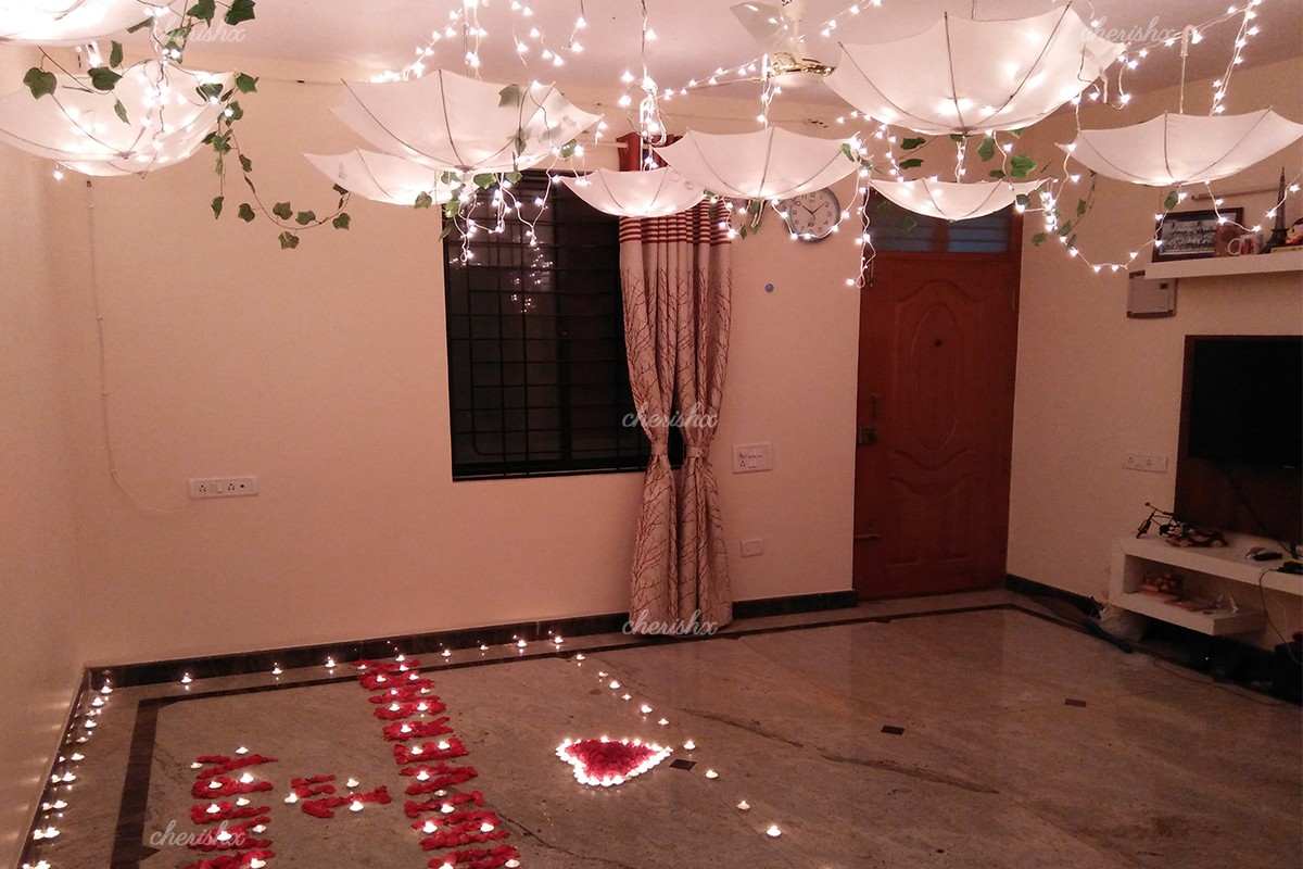 Stunning White Umbrella Decoration with Fairy Lights in Delhi, Gurgaon, Noida, NCR