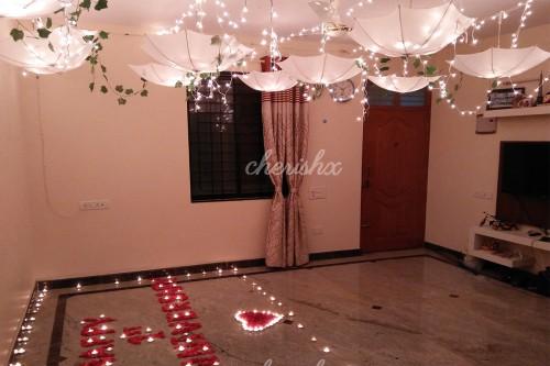 Stunning White Umbrella Decoration with Fairy Lights in Delhi, Gurgaon, Noida, NCR