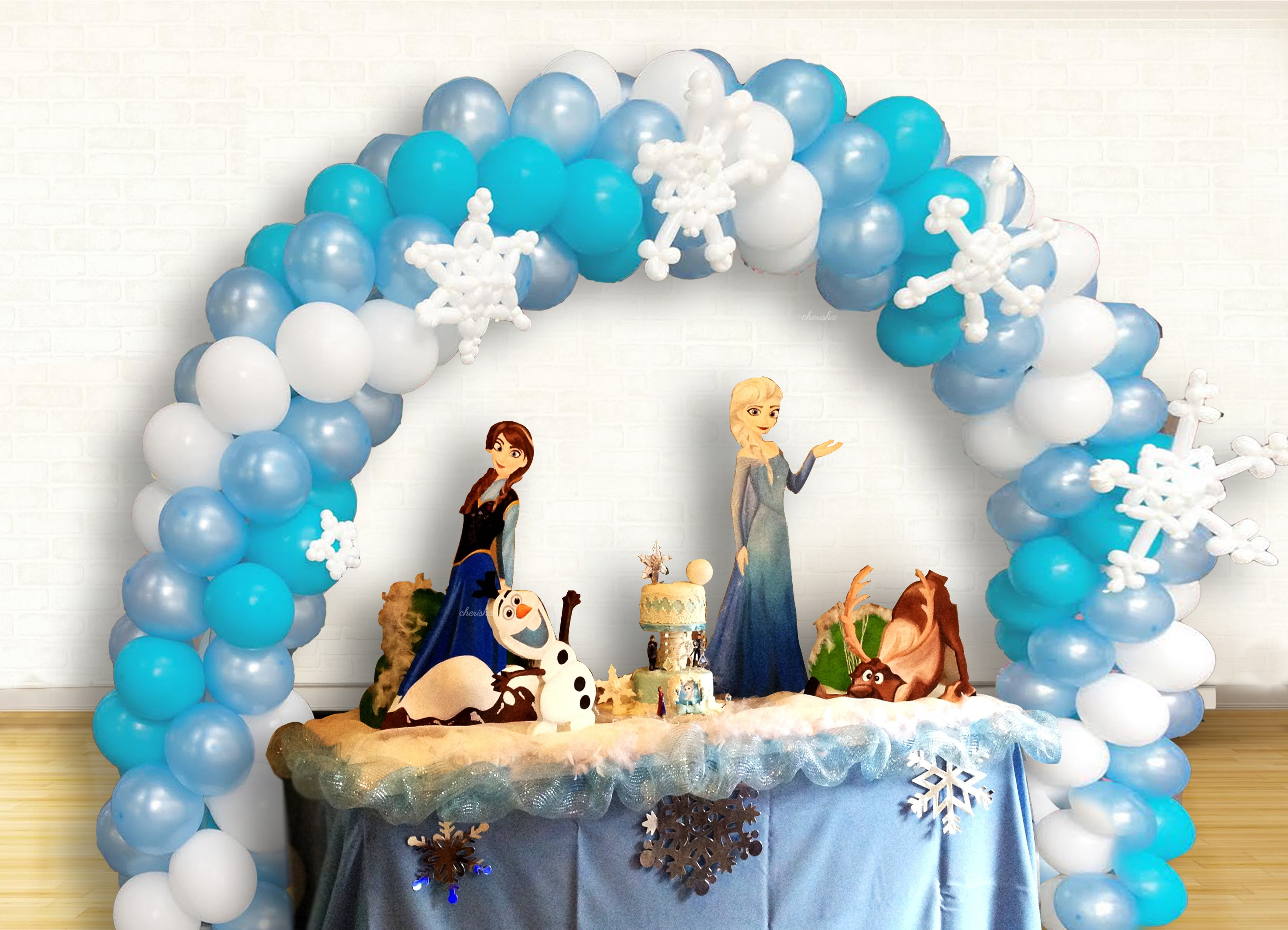 Elsa Frozen Birthday Theme Balloon Decoration At Home For Kids In
