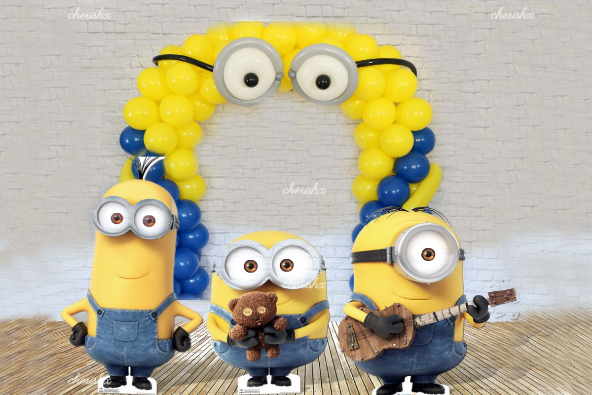Minion Birthday theme balloon decoration at home for Kids in Delhi ...