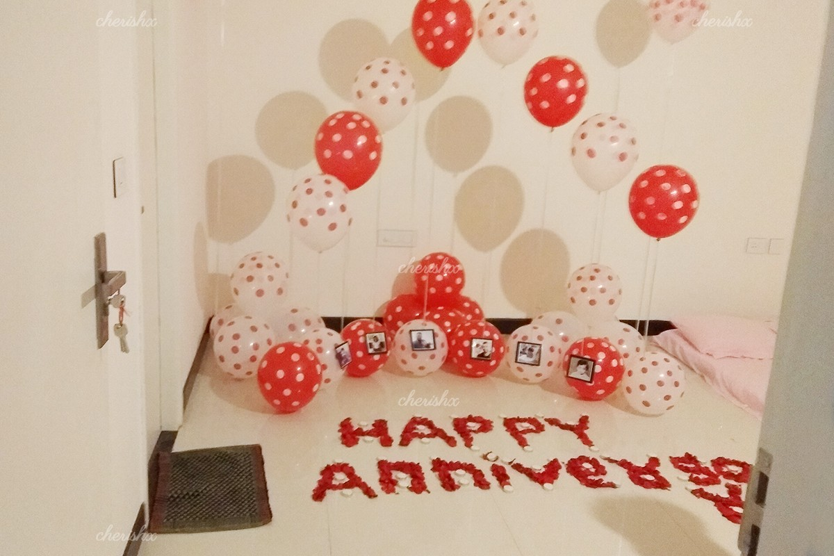 Set up with polka dots balloons and rose petals for a mindblowing surprise.