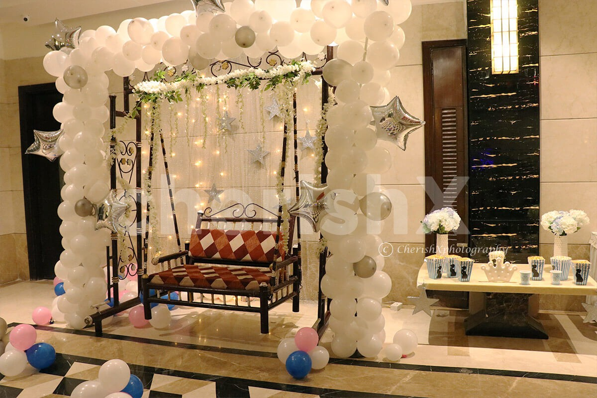 Beautiful Baby Shower Decorations in Elegant White Theme