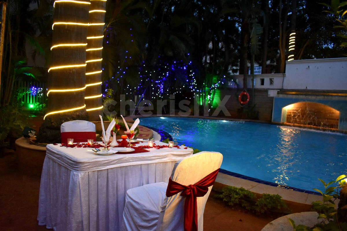 Book Candlelight Dinner table by the Poolside at Koramangala