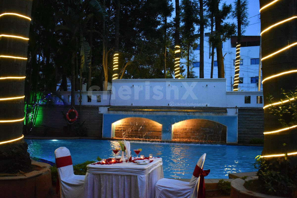 Poolside Candlelight Dinner at Halcyon, Bangalore