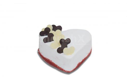 Red velvet heart-shaped cake
