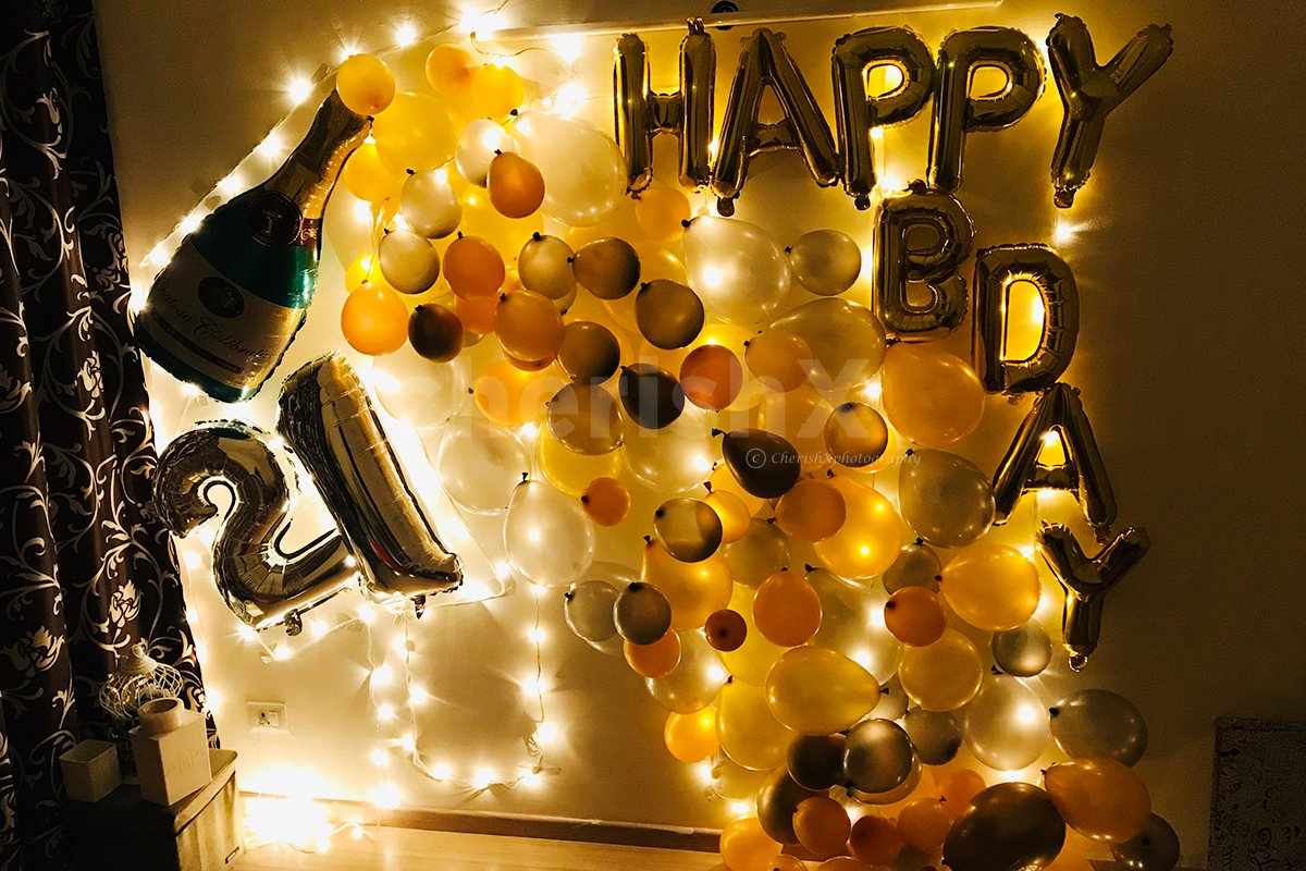 Happy Birthday Foil Balloons, LED Lights & Digit Foil Balloons Included