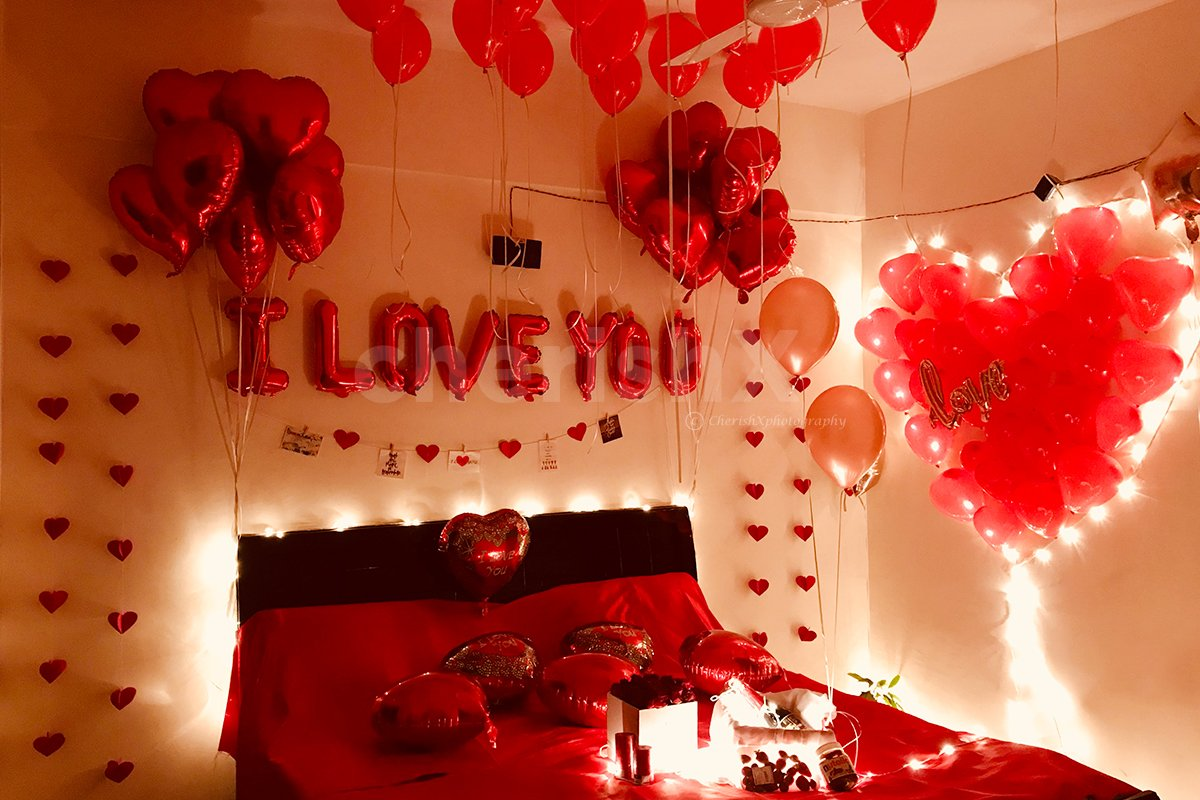 Red and Heart Theme Romantic Decoration