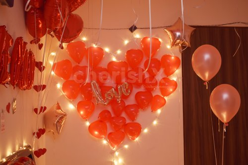 Heart Shape with LED lights and Red Balloons