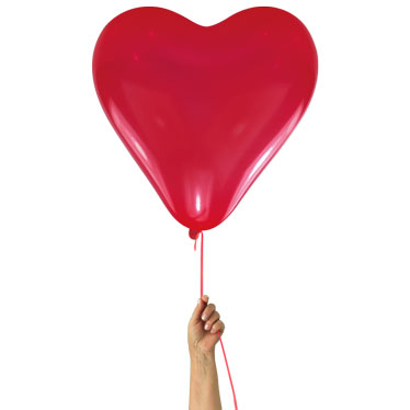 Add red heart shaped helium balloon