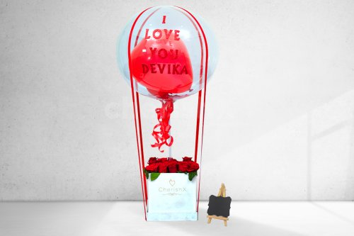 Hot Air Love Balloon with Roses