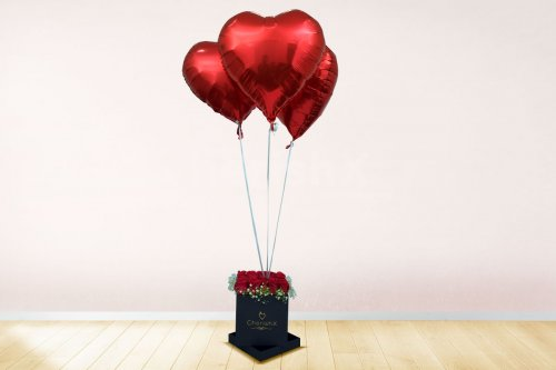 Rose Bucket with Heart Balloons