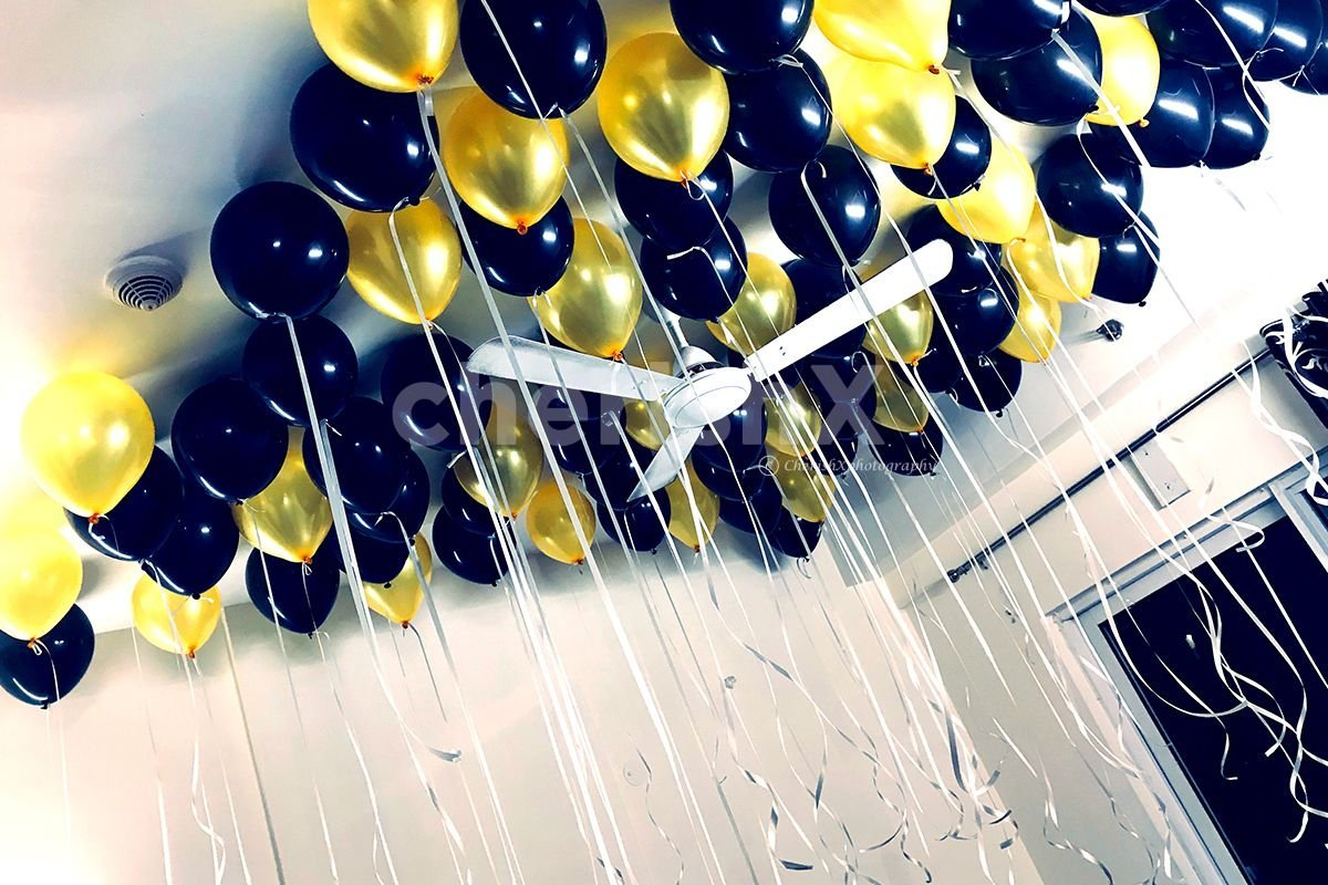 Golden and Black Theme Balloon Decoration in Bangalore