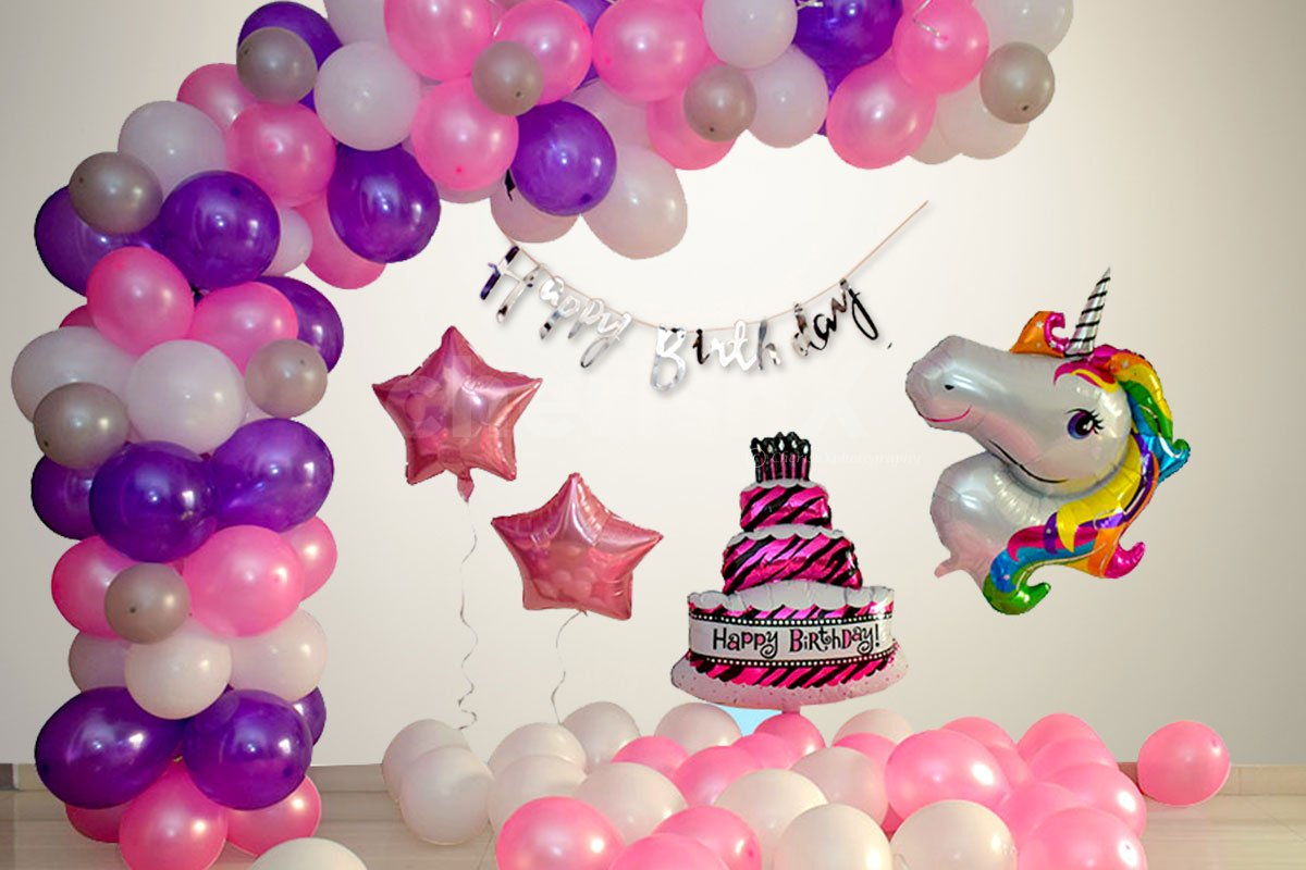 2 Pink Star foil Balloons and Happy Birthday Silver Bunting