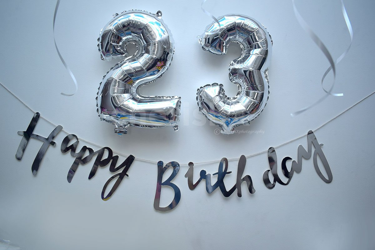 Silver number foil balloons and silver happy birthday bunting for Blue Themed Decor.
