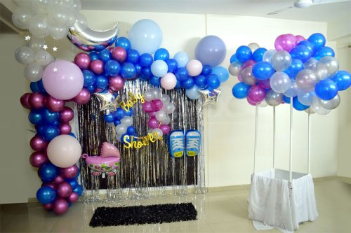 Baby Shower Decorations with Baby Shoes, Moon, Pastel Balloons