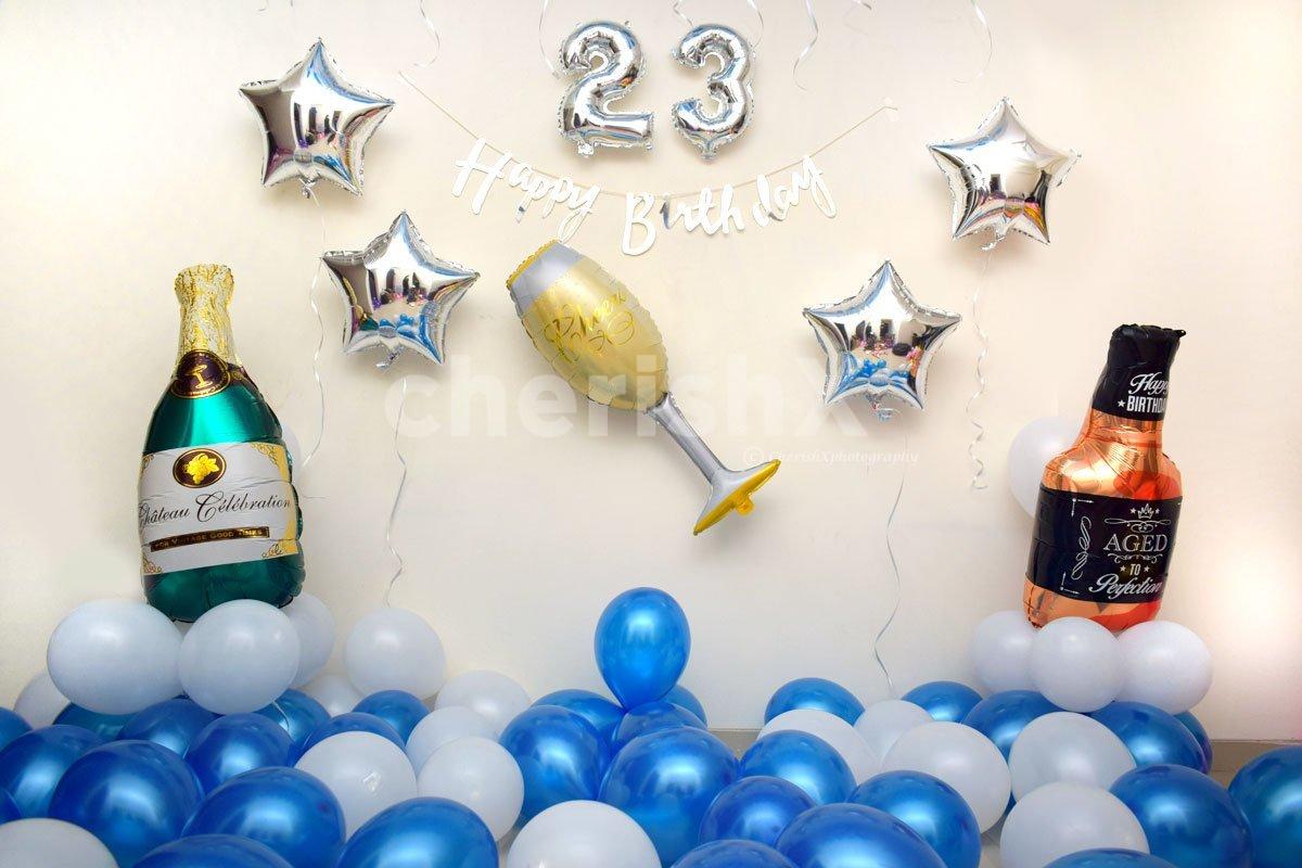 Blue Birthday Balloon Decor