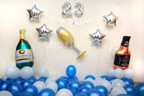 Blue Birthday Balloon Decor