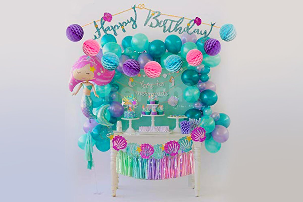 Magical Mermaid Theme Birthday Decorations for Baby Girl.