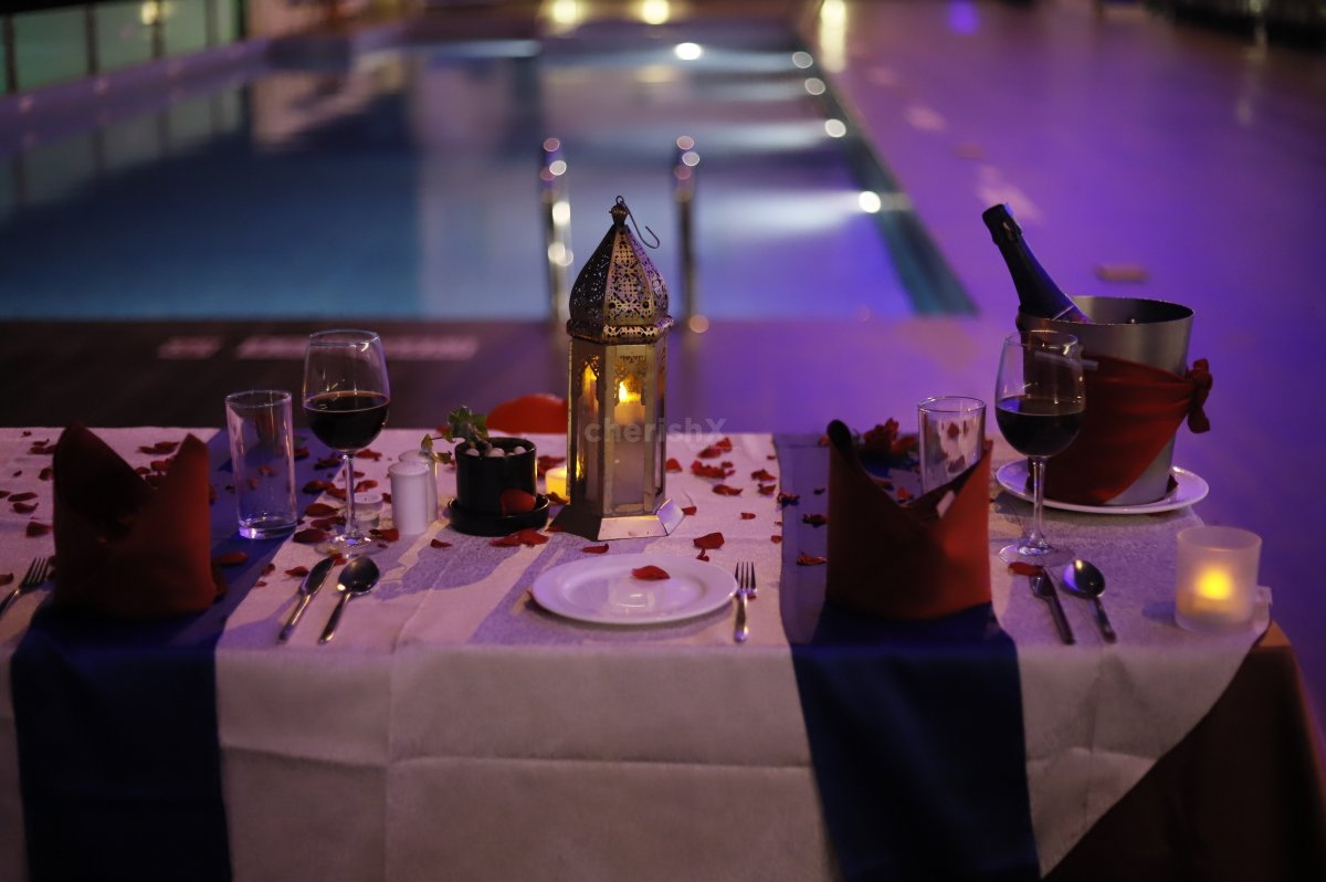 The Table is specially decorated to enhance the outlook of your Candle Light dinner date
