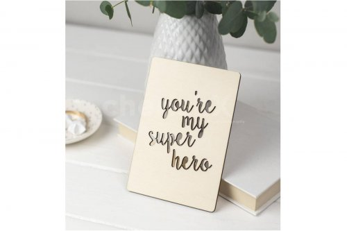 Wooden You're My Superhero Card