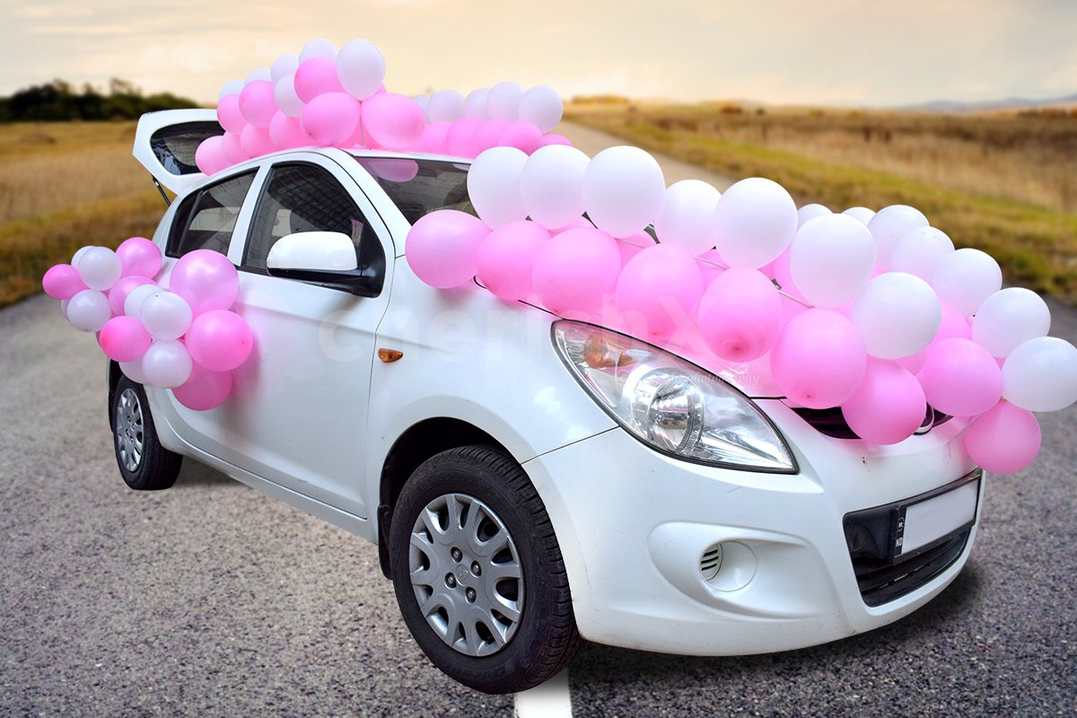 Get the car beautifully decorated for celebrating a baby shower.