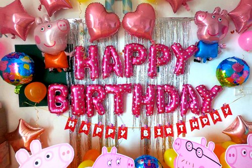 Happy Birthday Foil Balloons in Pink Color for Peppa Pig Theme