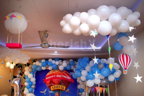 Balloon and Room Decoration with Hot Air Parachute Theme for your Kid's Birthday.