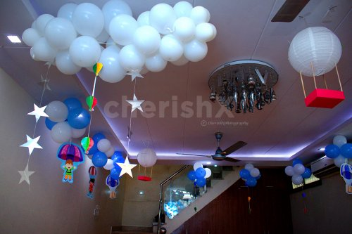 To add to the room decoration, the theme decor consists of Star hangings, Buntings, Paper Air Balloon cut-outs and more.
