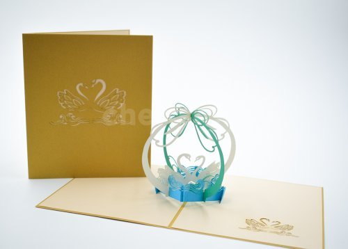 Swan Couple 3D Pop Up Card