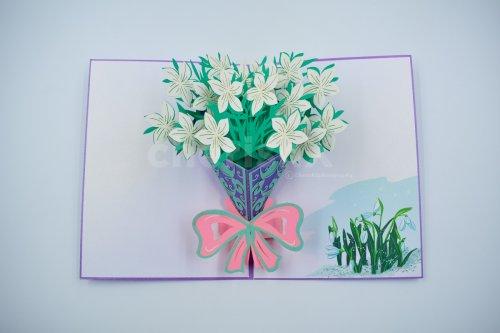 White Lily Bouquet 3D Card