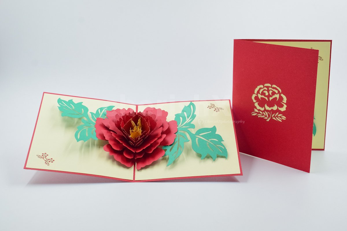 3D Red Peony Pop Up Card