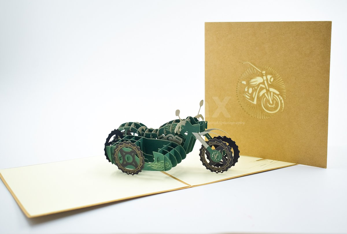 Motorcycle & Sidecar 3D Card