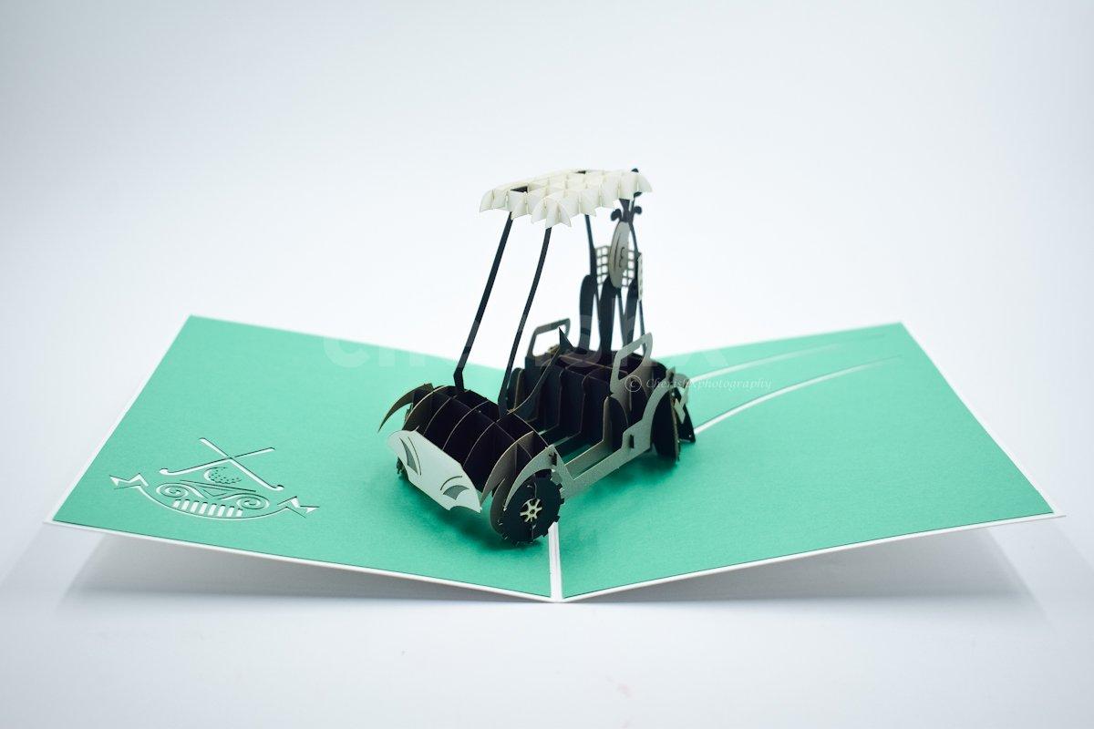 3D Golf Cart Pop Up Card