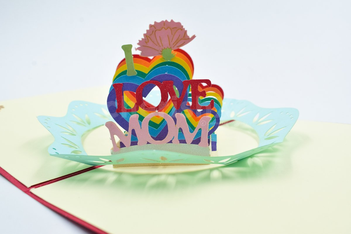 3D I Love Mom Pop Up Card