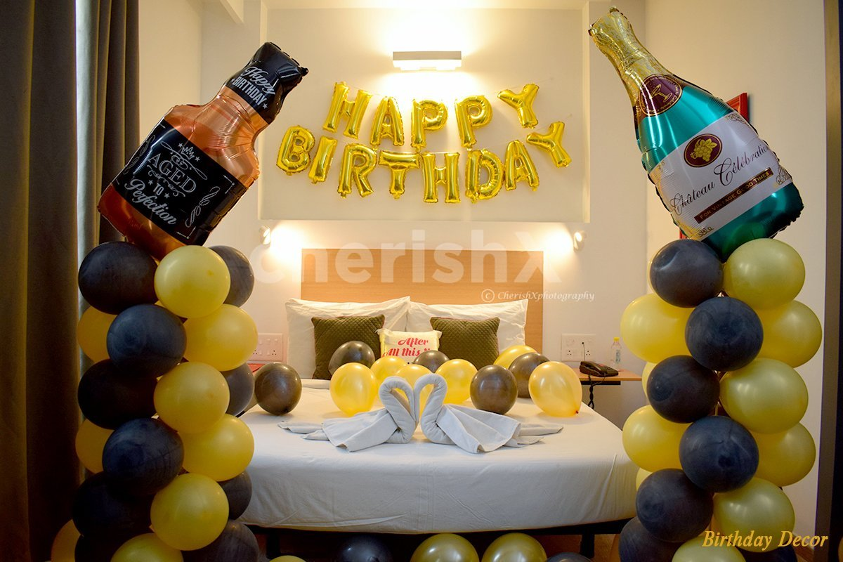 Hotel Room Balloon Decoration for a birthday celebration.