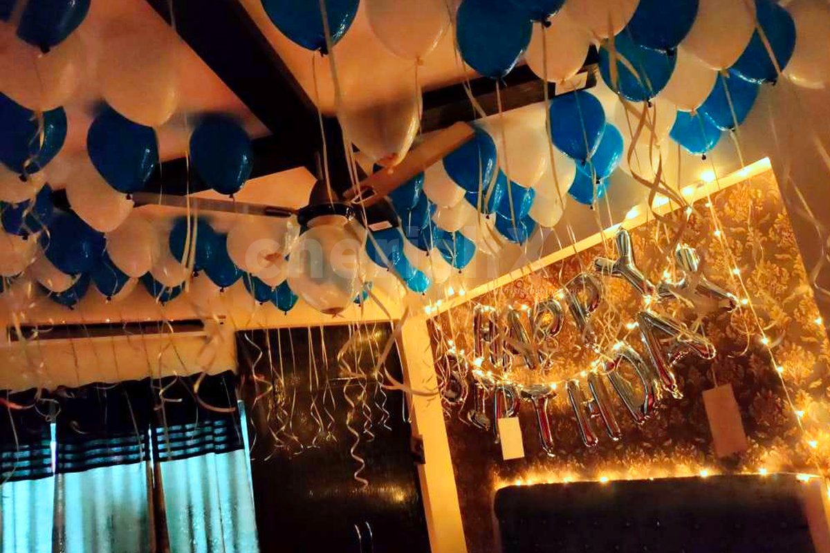White and Blue Balloon Decoration at your home in Delhi, Gurgaon, Noida, NCR