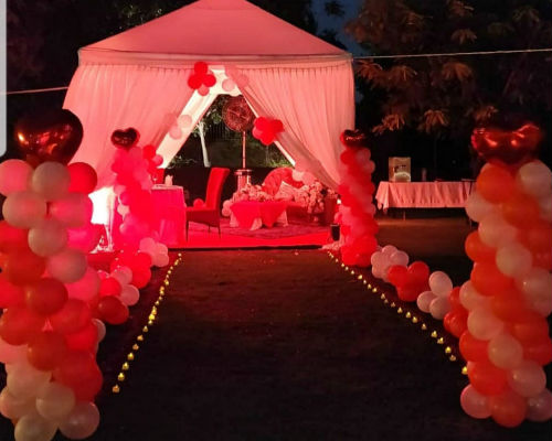 Pathway with Balloons & candles