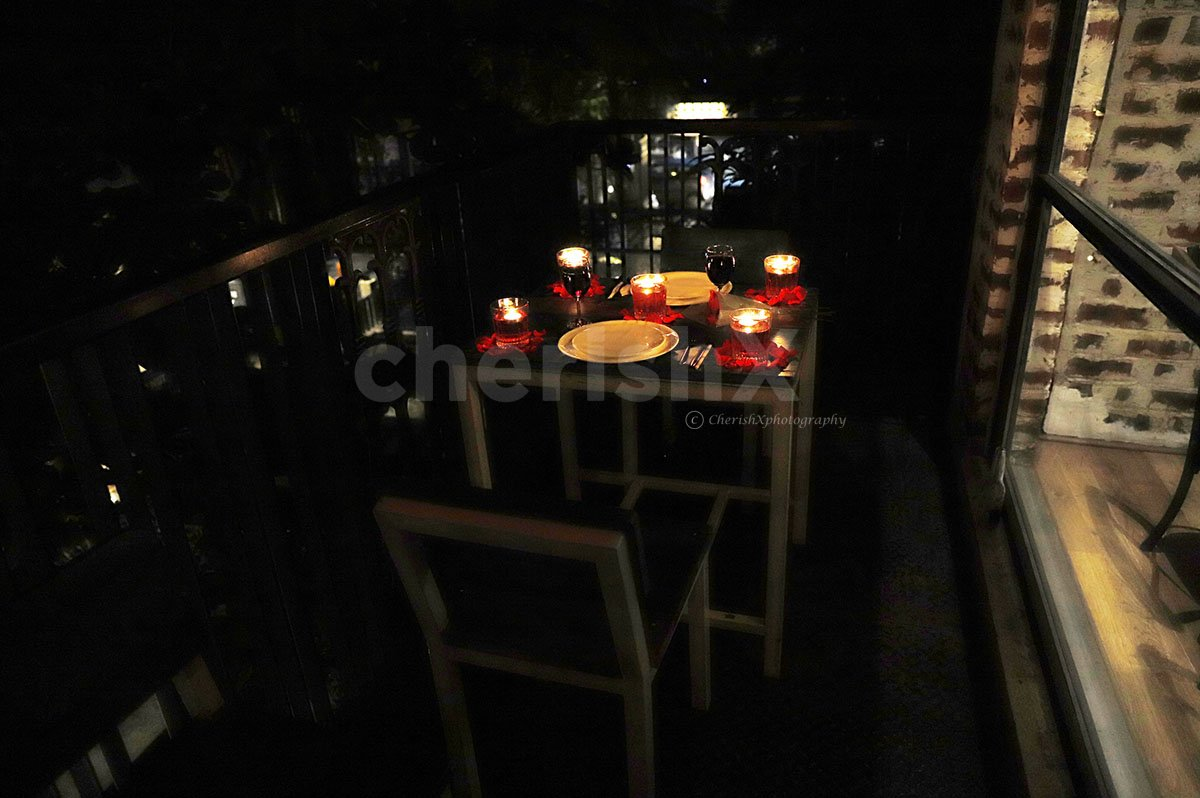 Romantic Balcony Dinner in a Fun Lounge