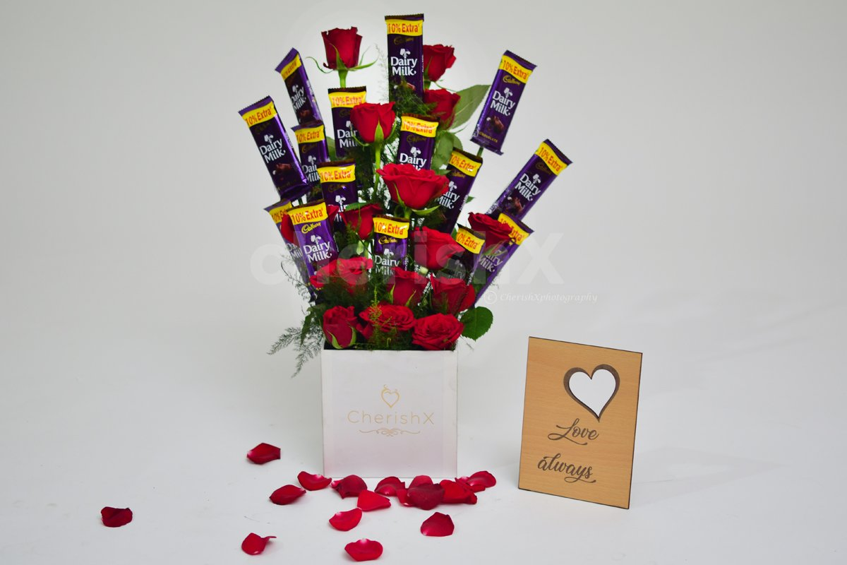 Send a bucket full of roses and chocolates to wish someone a birthday or anniversary.