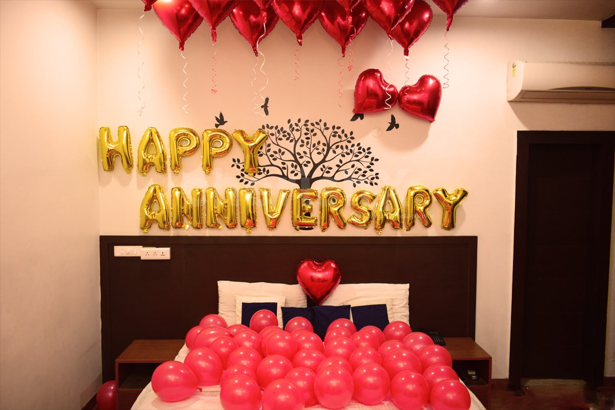 Happy Anniversary Balloon Room Decoration Surprise for your special one.