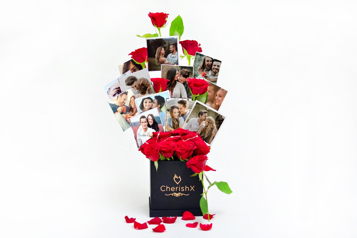 A bucket full of roses and personalised photos to send to your close ones.