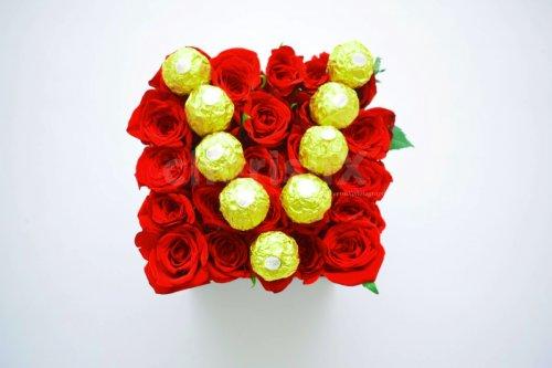Chocolate Initial Rose Bucket