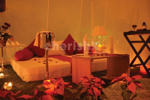 Private Cabana by the poolside has this comfortable seating to make your experience wonderful in Bangalore