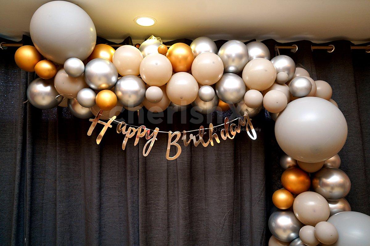 Balloon Arc, Chrome Balloons and Happy Birthday Bunting